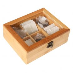 Natural Bamboo Six Compartment Tea Box