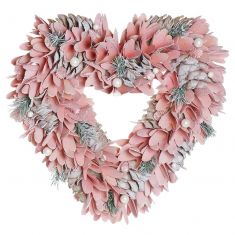 Pink Floral and Pinecone Heart Wreath 14