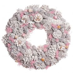 Silver and Pink Amelia Pinecone Christmas Wreath 15.5