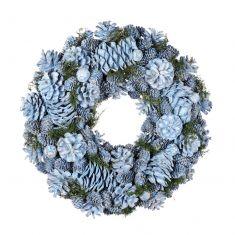 Ice Blue Pinecone Christmas Wreath 15.5