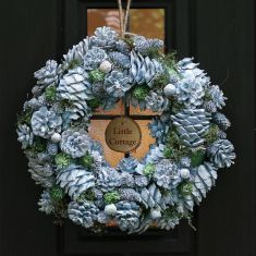 Personalised Ice Blue Pinecone Christmas Wreath 15.5