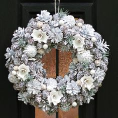 Frosted Flower and Pinecone Christmas Wreath 13