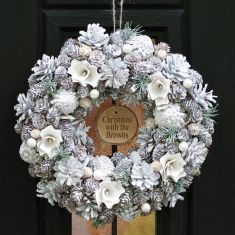 Personalised Frosted Flower and Pinecone Wreath 13