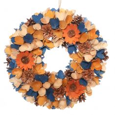 Midnight Blue Harvest Floral Wreath 12.5