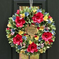 Personalised Colourful Blooms Floral Wreath 12.5