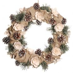 Country Style Natural Jute Christmas Wreath 16