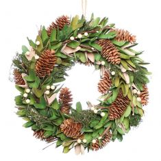 Pinecone and Mistletoe Forest Green Winter Wreath 14