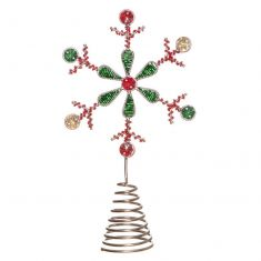 Red and Green Snowflake Christmas Tree Topper