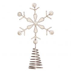 Silver and Pearl Snowflake Tree Topper