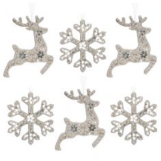 Set of 6 Morning Frost Luxury Silver Christmas Tree Decorations