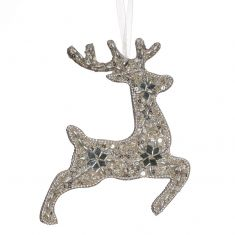Silver Prancing Reindeer Hanging Christmas Decoration