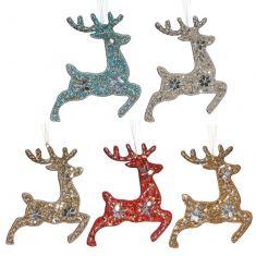 Set of 5 Prancing Reindeer Hanging Christmas Decorations