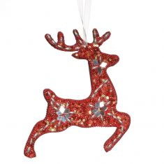 Red Prancing Reindeer Hanging Christmas Decoration