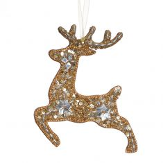 Gold Prancing Reindeer Hanging Christmas Decoration