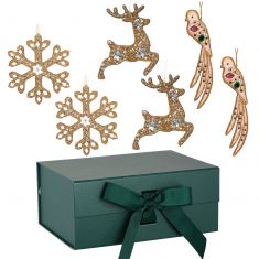 Set of 6 Golden Christmas Tree Decorations with Green A5 Ribbon Tie Presentation Box
