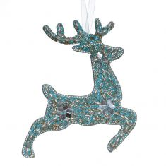 Blue Prancing Reindeer Hanging Christmas Decoration