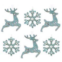 Set of 6 Frozen Blue Luxury Christmas Tree Decorations