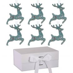 Set of 6 Blue Prancing Reindeer Ornaments with Ivory A5 Ribbon Tie Presentation Box