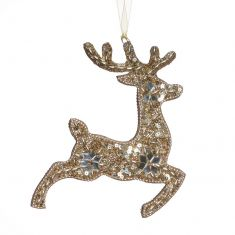 Champagne Gold Prancing Reindeer Hanging Christmas Decoration
