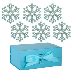 Set of 6 Blue Snowflake Ornaments with Blue A5 Ribbon Tie Presentation Box