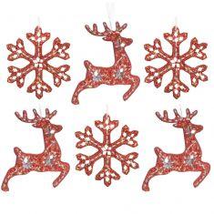 Set of 6 Opulent Red Luxury Christmas Tree Decorations