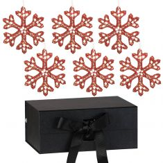 Set of 6 Red Snowflake Ornaments with Black A5 Ribbon Tie Presentation Box