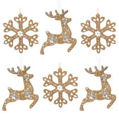 Set of 6 Traditional Gold Luxury Christmas Tree Decorations