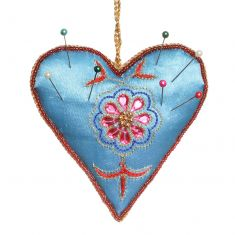Hand Embroidered Blue Heart Pin Cushion