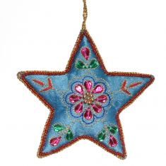 Blue Star Hanging Christmas Decoration