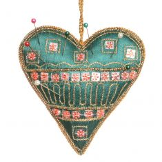 Hand Embroidered Green Heart Pin Cushion