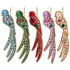 Set of 5 Embroidered Bird Hanging Decorations
