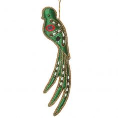 Embroidered Green Bird Christmas Tree Decoration