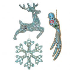 Set of 3 Frozen Blue Christmas Tree Decorations