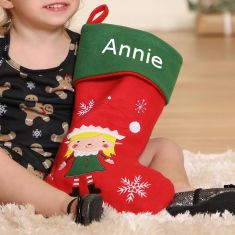Girl's Personalised Elf Christmas Stocking