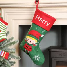 Boy's Personalised Elf Christmas Stocking
