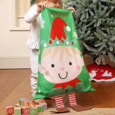 Personalised Santa's Elf Children's Christmas Gift Sack