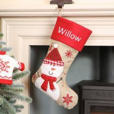 Personalised Jute Snowman Christmas Stocking