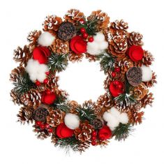 Winter Snow Pinecone and Roses Wreath 15