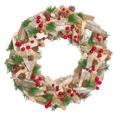 Natural Wooden Rustic Christmas Wreath 15