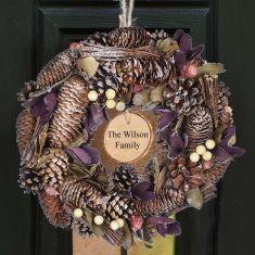 Personalised Periwinkle Pearl Christmas Wreath 12