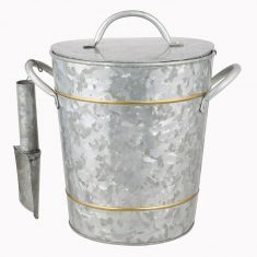 Galvanised Zinc Ice Bucket and Scoop