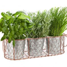 Set of 3 Zinc Plant Pots with Copper Wire Basket