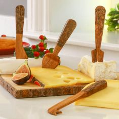 Set of Four Rustic Wooden Cheese Knives