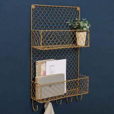 Gold Wire Wall Mounted Storage Shelf