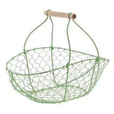 Handwoven Green Chickenwire Trug