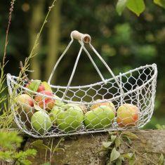 Handwoven White Chickenwire Harvest Trug Basket