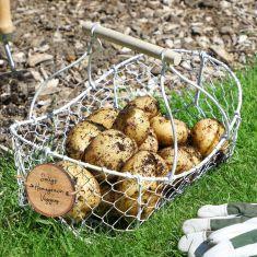 Personalised White Chickenwire Veg Storage Basket