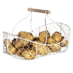 White Handwoven Wire Vegetable Basket