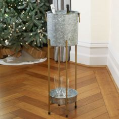 Galvanised Zinc Ice Bucket on Stand with Tray