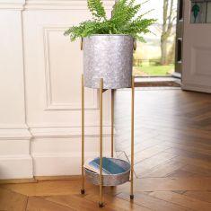 Galvanized Zinc Tall Planter
